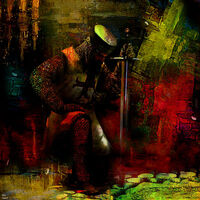 The prayer of the Knight Templar by Joe Ganech - search and link Fine Art with ARTdefs.com