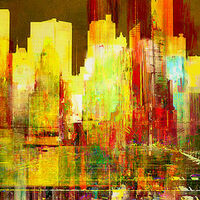 Reflection of a city by Joe Ganech - search and link Fine Art with ARTdefs.com