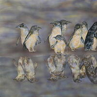 Penguin reflections by Susan Willemse - search and link Fine Art with ARTdefs.com