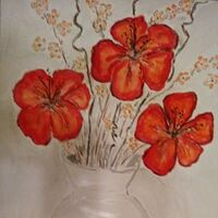 Shiny White Vase and Red Flowers by Susan Royer - search and link Fine Art with ARTdefs.com