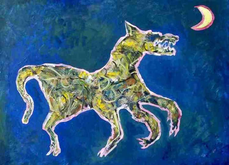 Dancing Wolf Growling by Arthur Secunda - search and link Fine Art with ARTdefs.com