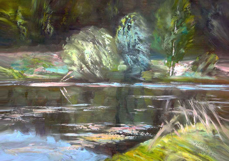On the river by Alexander Vlasyuk - search and link Fine Art with ARTdefs.com
