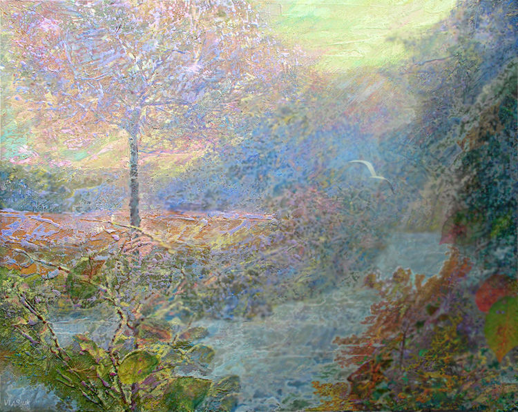 Morning on the river by Alexander Vlasyuk - search and link Fine Art with ARTdefs.com