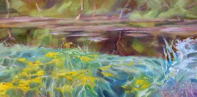 On the bank of the river by Alexander Vlasyuk - search and link Fine Art with ARTdefs.com