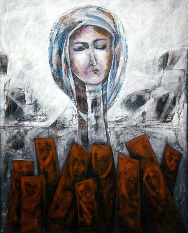 Shingal Woman #3 (A Widow's Loss)  by Ferhad Khalil - search and link Fine Art with ARTdefs.com