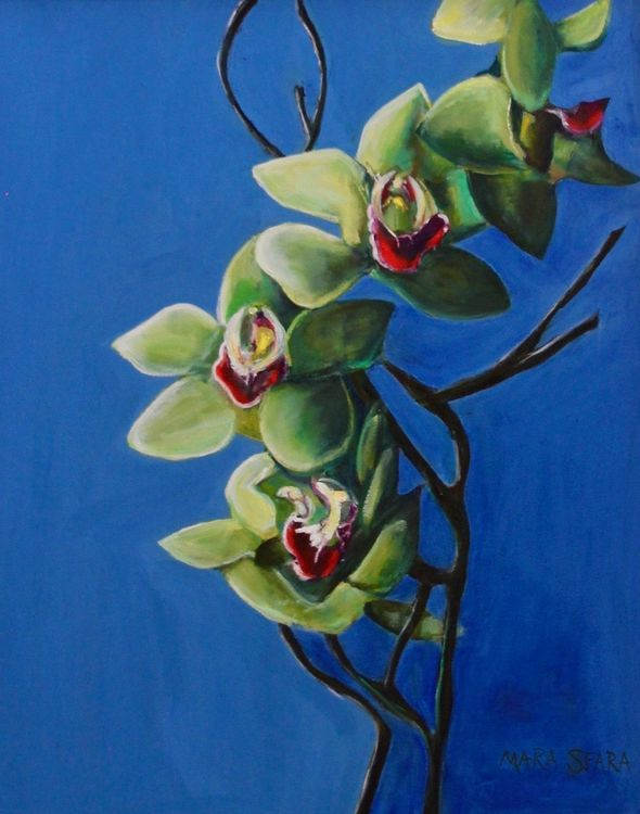 Green Orchid Painting by Mara Sfara - search and link Fine Art with ARTdefs.com