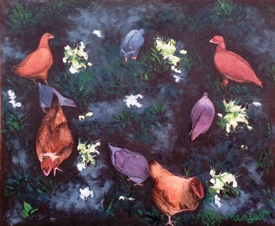 Chickens by Vincent Mengeot - search and link Fine Art with ARTdefs.com