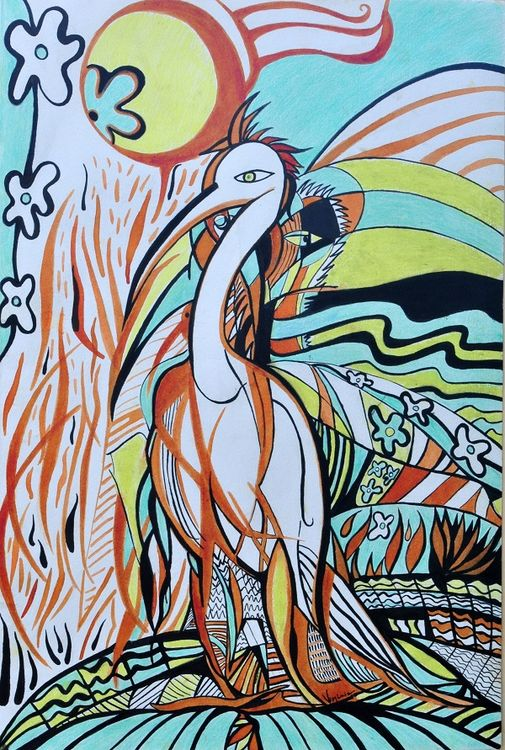 Airone bianco-wildlife by Virginia Ersego - search and link Fine Art with ARTdefs.com