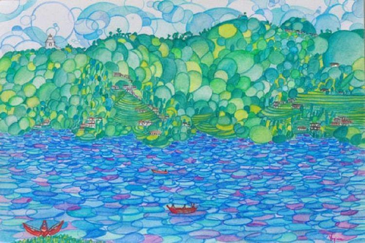 Pokara Lake by Virginia - search and link Fine Art with ARTdefs.com