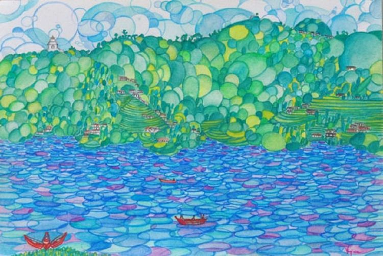 Pokara Lake by Virginia Ersego - search and link Fine Art with ARTdefs.com