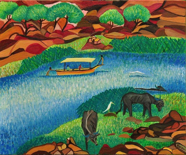 Narmada River by Virginia - search and link Fine Art with ARTdefs.com