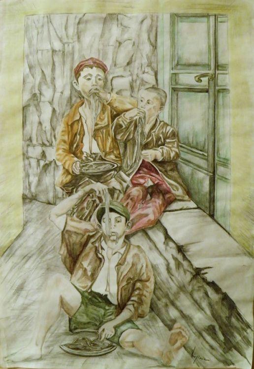 Scugnizzi mangiano spaghetti by Virginia Ersego - search and link Fine Art with ARTdefs.com
