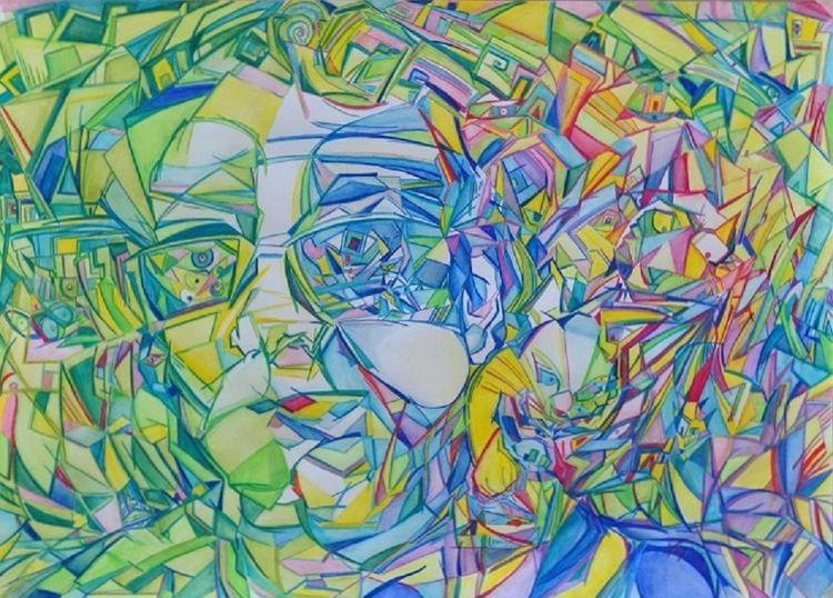 Ritratto scomposto con gatto by Virginia Ersego - search and link Fine Art with ARTdefs.com