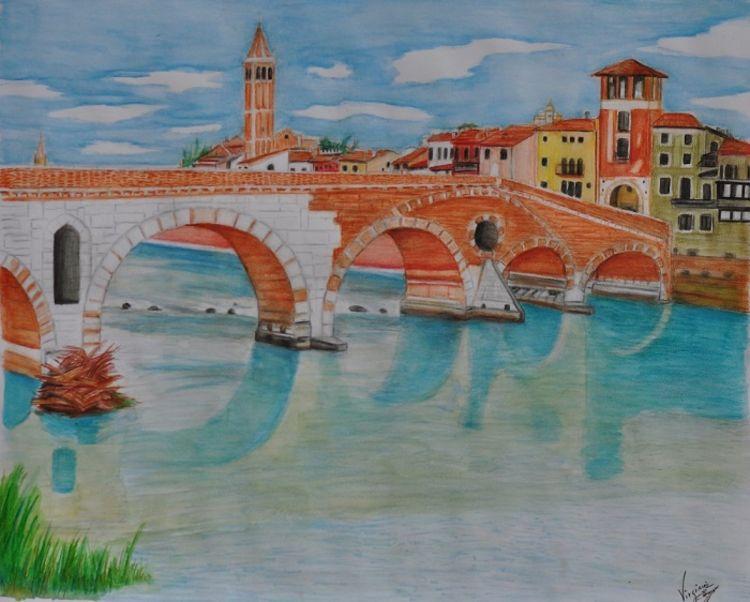 Ponte Pietra by Virginia - search and link Fine Art with ARTdefs.com