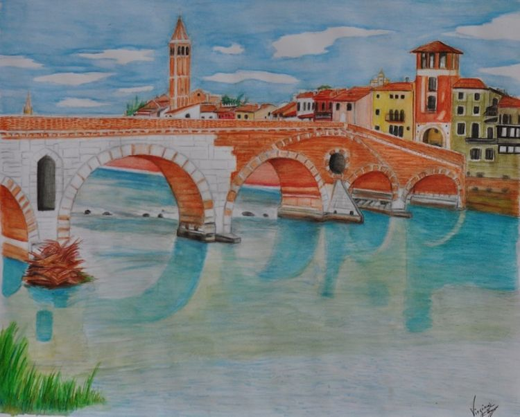 Ponte Pietra by Virginia Ersego - search and link Fine Art with ARTdefs.com