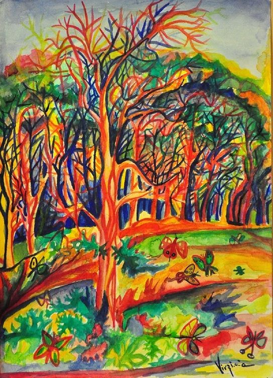 Psychedelic Jungle by Virginia Ersego - search and link Fine Art with ARTdefs.com