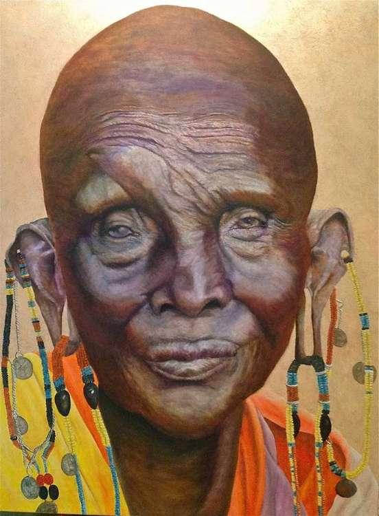 African woman  by Allan Skriloff - search and link Fine Art with ARTdefs.com