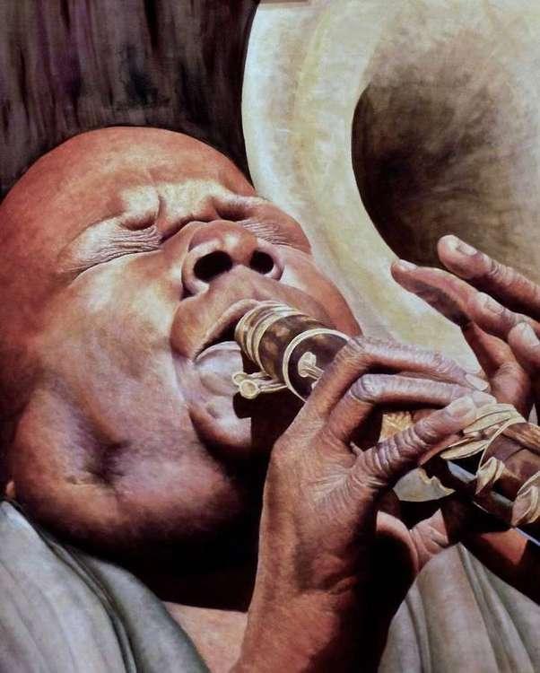 Flute player by Allan Skriloff - search and link Fine Art with ARTdefs.com