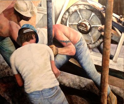 Men at work by Allan Skriloff - search and link Fine Art with ARTdefs.com