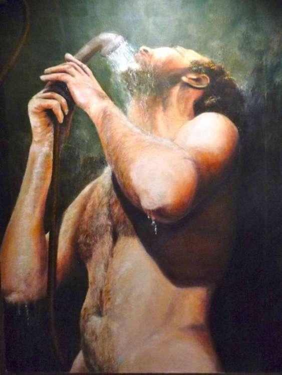Showering by Allan Skriloff - search and link Fine Art with ARTdefs.com