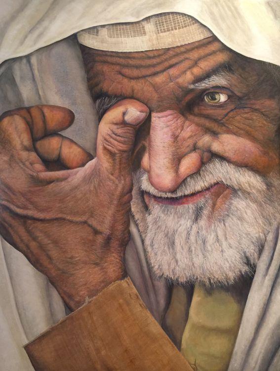 Muslim man by Allan Skriloff - search and link Fine Art with ARTdefs.com