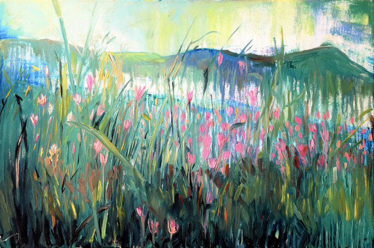 LILIES BY THE BAY  by Bansri Chavda - search and link Fine Art with ARTdefs.com