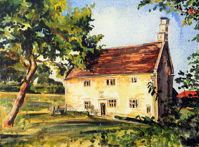 NEWTON'S HOUSE & THE APPLE TREE by Bansri Chavda - search and link Fine Art with ARTdefs.com