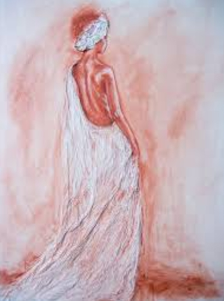 woman in white cloth with head wrap by Bianca Franklin - search and link Fine Art with ARTdefs.com