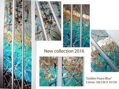 "Caroline Vis, ""Golden Peace Blue stone""  by Caroline Vis Dutch Dripping Artist - search and link Fine Art with ARTdefs.com"