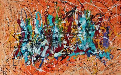 """""""Holi Pagwa III """" By Caroline Vis (Jackson Pollock dripping pouring style) by Caroline Vis Dutch Dripping Artist - search and link Fine Art with ARTdefs.com"""
