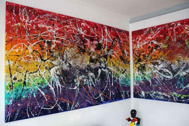 """""""Controverse"""" XXL extra large Painting by Caroline Vis by Caroline Vis Dutch Dripping Artist - search and link Fine Art with ARTdefs.com"""