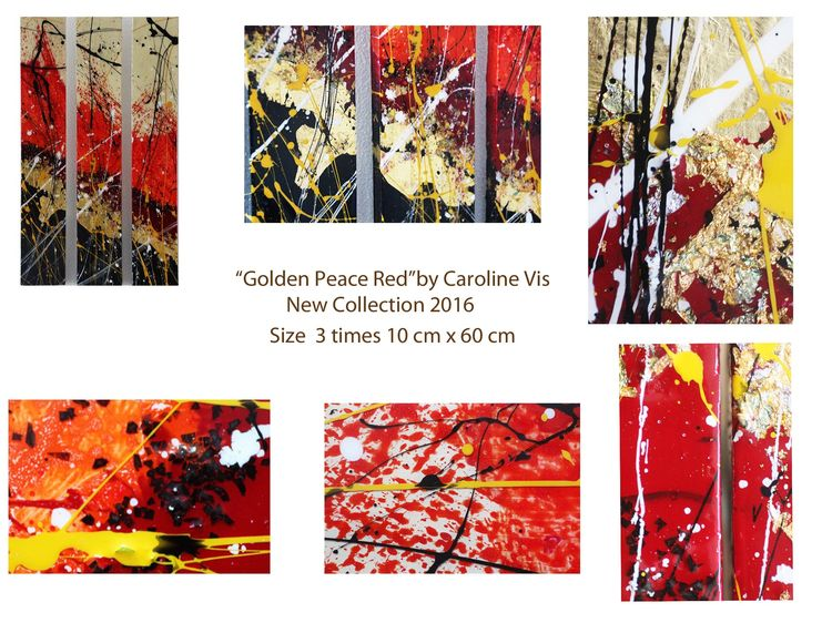 """Golden peace Small"" extra modern Art 3 times 10 cm x 60 cm by Caroline Vis - search and link Fine Art with ARTdefs.com"