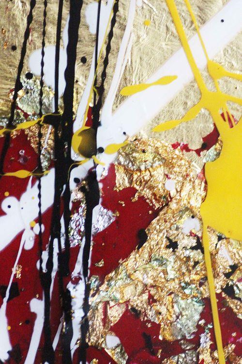 """Golden peace Small"" extra modern Art 3 times 10 cm x 60 cm by Caroline Vis - search and link Fine Art with ARTdefs.com"