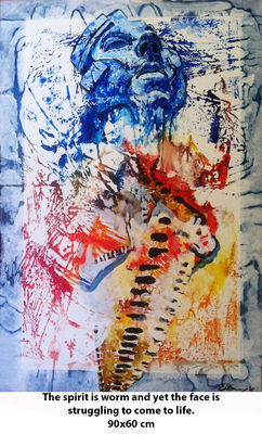 The spirit is worm and yet the face is struggling to come to life. by Eugen Bregu - search and link Fine Art with ARTdefs.com