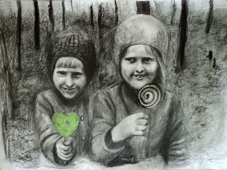 two sisters in a wood by Giuditta-R - search and link Fine Art with ARTdefs.com