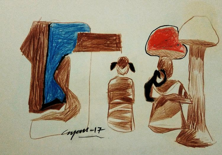 Mother and daughter  by Gyanendra Pratap Singh - search and link Fine Art with ARTdefs.com