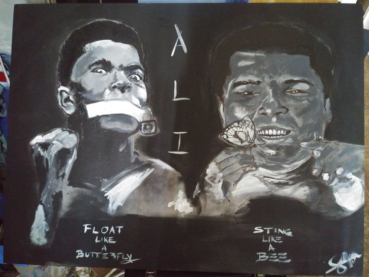 Muhammad ali. Float .....sting.... by Junior Ikpe - search and link Fine Art with ARTdefs.com