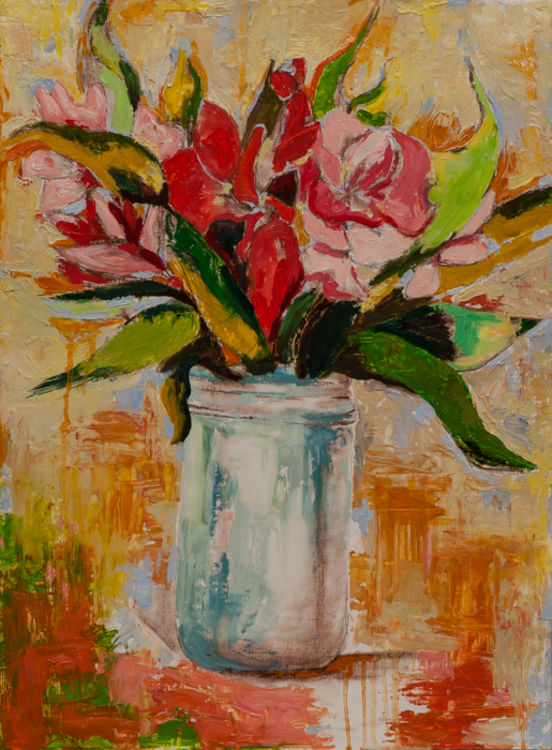 Glass Jar with Flowers by Margaret Brown - search and link Fine Art with ARTdefs.com