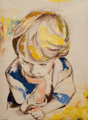 Little Man Thinking by Margaret Brown - search and link Fine Art with ARTdefs.com