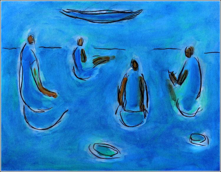 PIQUE-NIQUE BLEU by Jean Mirre - search and link Fine Art with ARTdefs.com