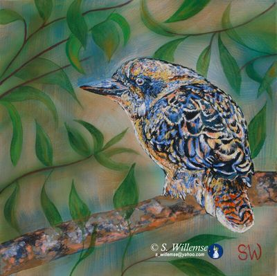 Grumpy Kookaburra by Susan Willemse - search and link Fine Art with ARTdefs.com