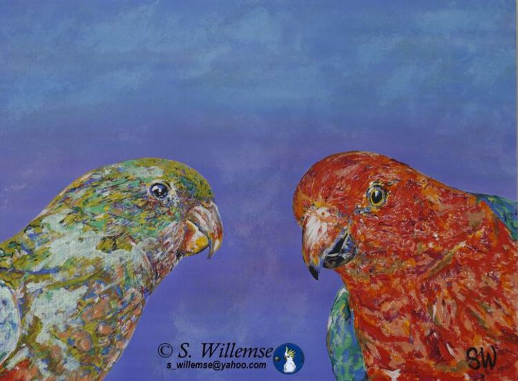 King Parrots by Susan Willemse - search and link Fine Art with ARTdefs.com