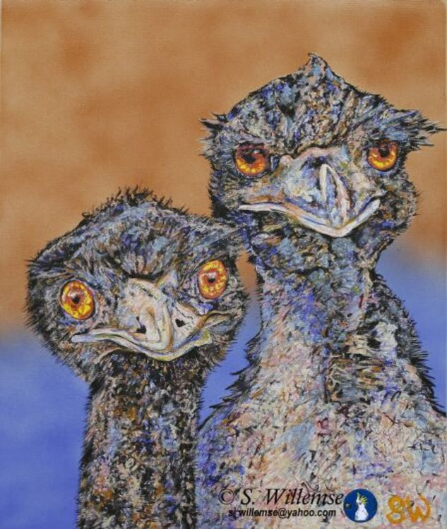 Mr. and Mrs. Emu by Susan Willemse - search and link Fine Art with ARTdefs.com