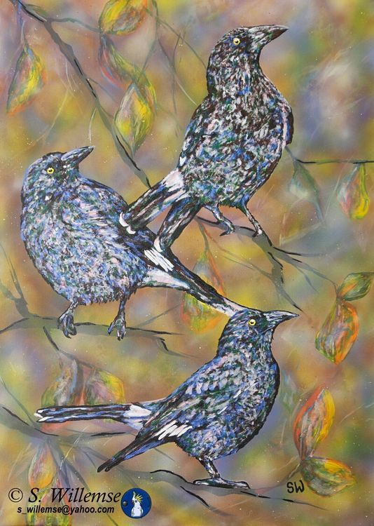 Currawongs and autumn leaves by Susan Willemse - search and link Fine Art with ARTdefs.com