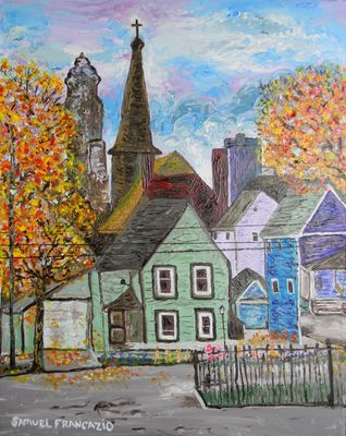 Fall in Asian Town by Samuel J. Francazio - search and link Fine Art with ARTdefs.com