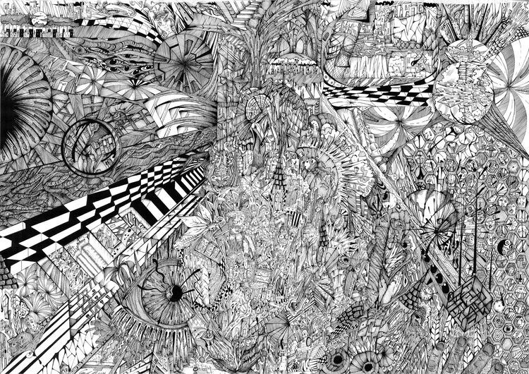 ink chaos by Graham edward rhodes - search and link Fine Art with ARTdefs.com