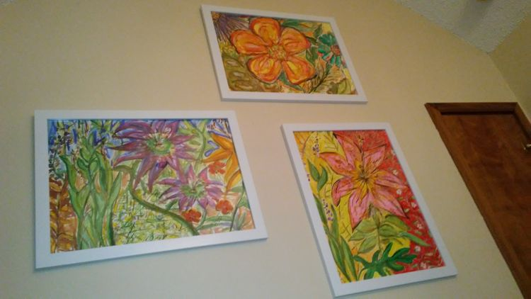 Anti S. A. D. 1,2, and 3 (displayed as a trio wall brightening group) by Susan Royer - search and link Fine Art with ARTdefs.com
