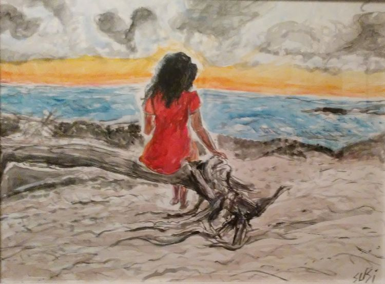 Driftwood Girl by Susan Royer - search and link Fine Art with ARTdefs.com