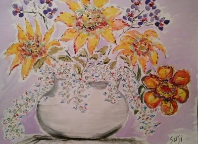 White Vase on Lavendar by Susan Royer - search and link Fine Art with ARTdefs.com