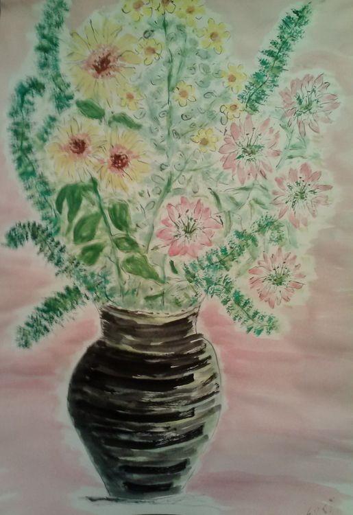 Black vase Pink Flowers by Susan Royer - search and link Fine Art with ARTdefs.com